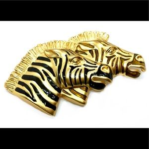 Huge Zebra Brooch - Statement Jewelry Safari Chic
